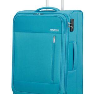 American Tourister Látkový cestovní kufr Heat Wave M 65 l - světle modrá