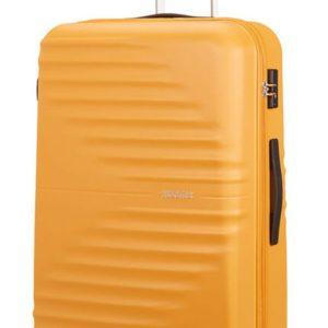 American Tourister Skořepinový cestovní kufr Wavetwister 94 l - žlutá
