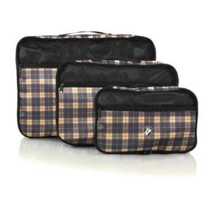 Heys Organizéry do zavazadla Exotic Cube Yellow plaid – sada 3 ks