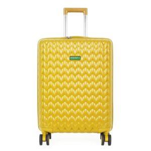United Colors of Benetton Skořepinový cestovní kufr KNIT Medium 60 l - žlutá