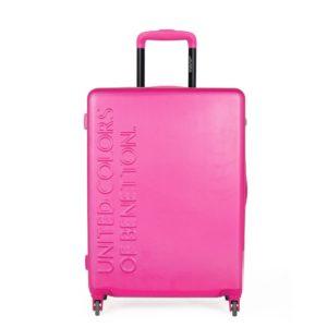 United Colors of Benetton Skořepinový cestovní kufr UCB Medium 60 l - růžová