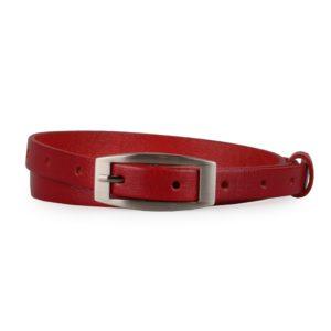 Penny Belts Dámský úzký kožený opasek 15-2-93 červený - 90